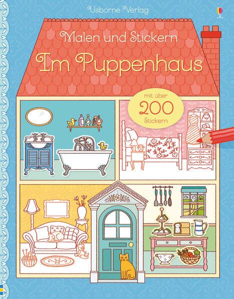 Kostenlose PDF Malen und Stickern: Im Puppenhaus