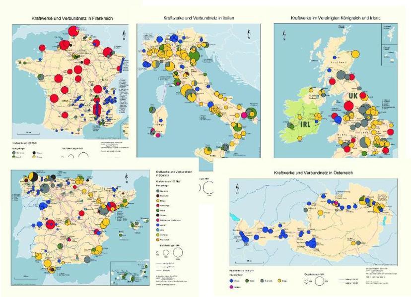 Kraftwerke und Verbundnetze in Europa. 14 Detailkarten europäischer Staaten mit insgesamt ca. 1000 Kraftwerken ab 100 MW sowie Höchstspannungsnetze. (CD-ROM) - Kartenset - Coverbild