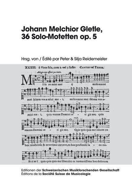 Johann Melchior Gletle, 36 Solo-Motetten op. 5 - Coverbild