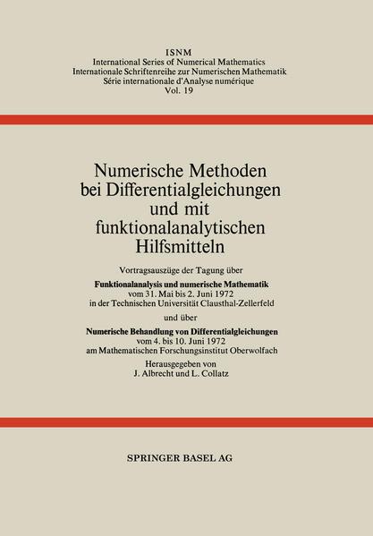 Numerische Methoden bei Differentialgleichungen und mit funktionalanalytischen Hilfsmitteln - Coverbild