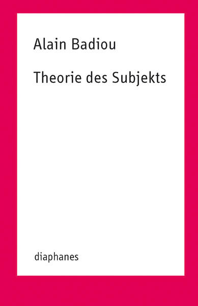 Theorie des Subjekts - Coverbild