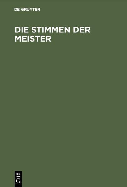 Die Stimmen der Meister - Coverbild