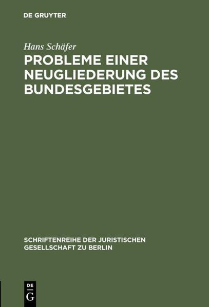 Probleme einer Neugliederung des Bundesgebietes - Coverbild