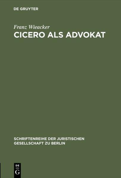 Cicero als Advokat - Coverbild