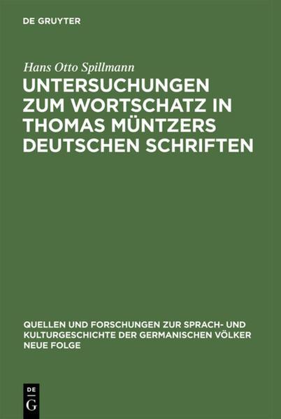 Untersuchungen zum Wortschatz in Thomas Müntzers deutschen Schriften - Coverbild