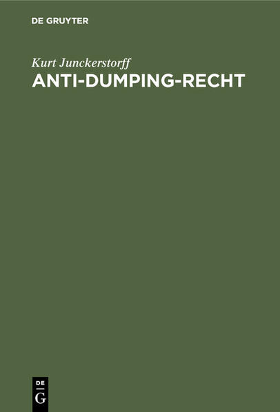 Anti-Dumping-Recht - Coverbild