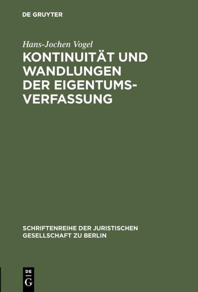 Kontinuität und Wandlungen der Eigentumsverfassung - Coverbild