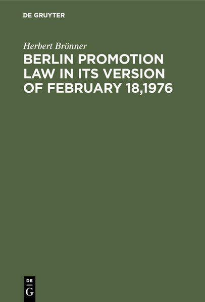 BERLIN PROMOTION LAW      2A - Coverbild