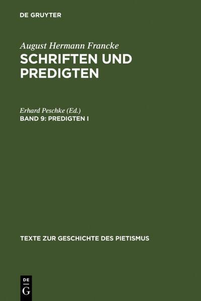 August Hermann Francke: Schriften und Predigten / Predigten I - Coverbild