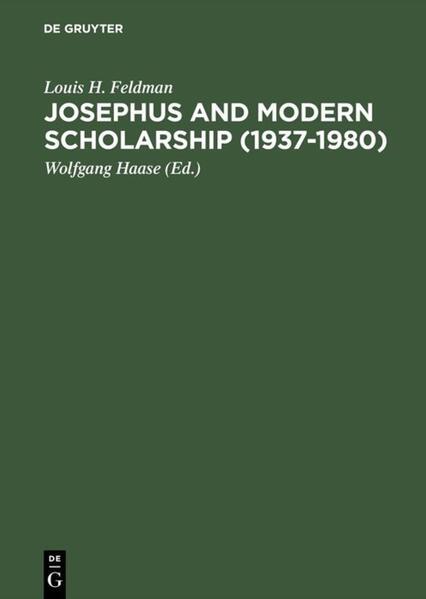 Josephus and Modern Scholarship (1937–1980) - Coverbild