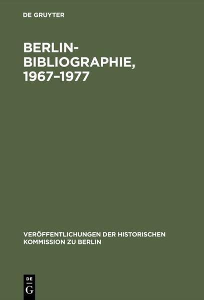 Berlin-Bibliographie 1967 bis 1977 - Coverbild
