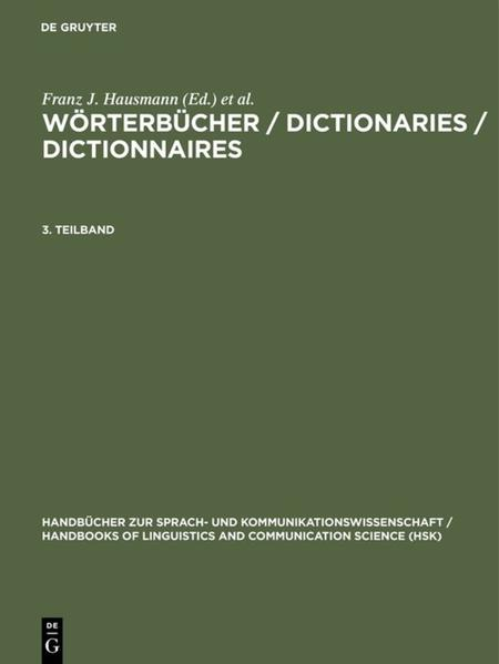 Wörterbücher / Dictionaries / Dictionnaires / Wörterbücher / Dictionaries / Dictionnaires. 3. Teilband - Coverbild
