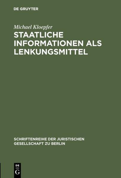 Staatliche Informationen als Lenkungsmittel - Coverbild