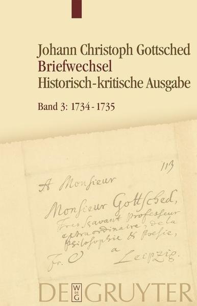 Johann Christoph Gottsched: Briefwechsel / 1734-1735 - Coverbild