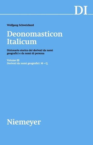 Deonomasticon Italicum (DI) / Derivati da nomi geografici (M-Q) - Coverbild