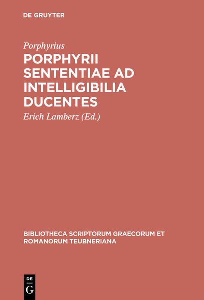 Porphyrii sententiae ad intelligibilia ducentes - Coverbild