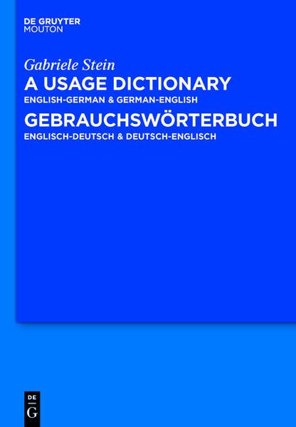 A Usage Dictionary English-German / German-English - Gebrauchswörterbuch Englisch-Deutsch / Deutsch-Englisch - Coverbild