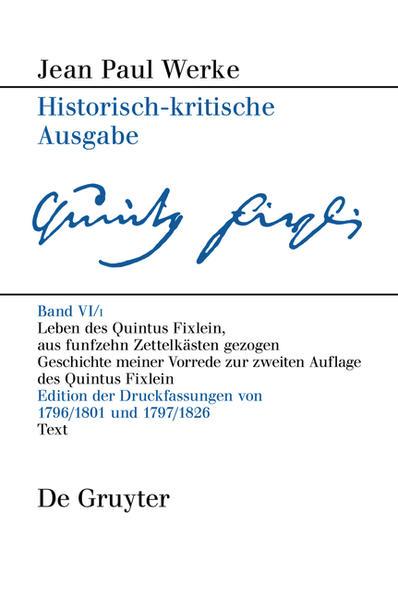 Jean Paul: Werke / Leben des Quintus Fixlein, aus funfzehn Zettelkästen gezogen - Coverbild