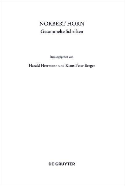 Norbert Horn, Gesammelte Schriften - Coverbild