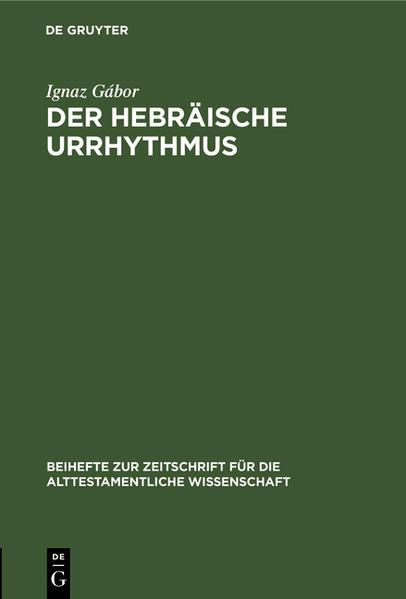 Der hebräische Urrhythmus - Coverbild