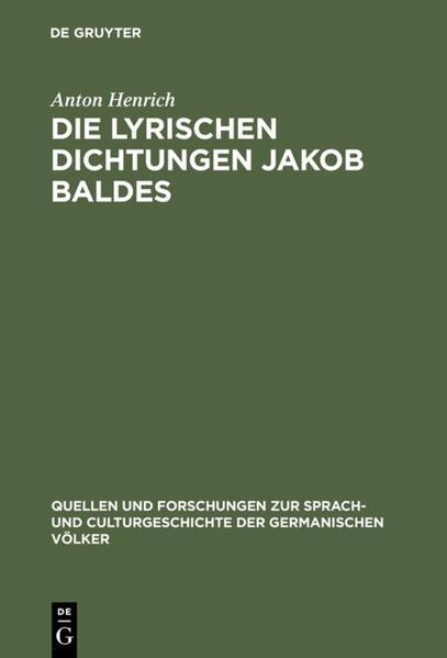 Die lyrischen Dichtungen Jakob Baldes - Coverbild