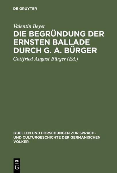 Die Begründung der ernsten Ballade durch G. A. Bürger - Coverbild