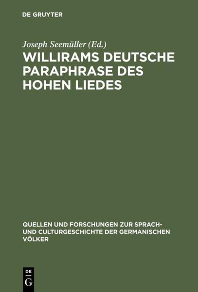 Willirams deutsche Paraphrase des Hohen Liedes - Coverbild