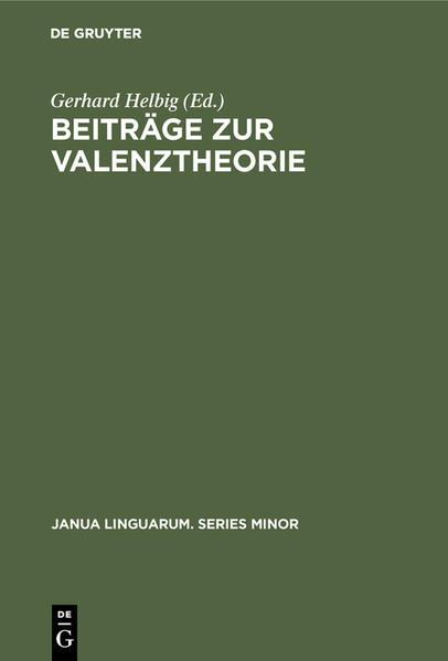 Beiträge zur Valenztheorie - Coverbild