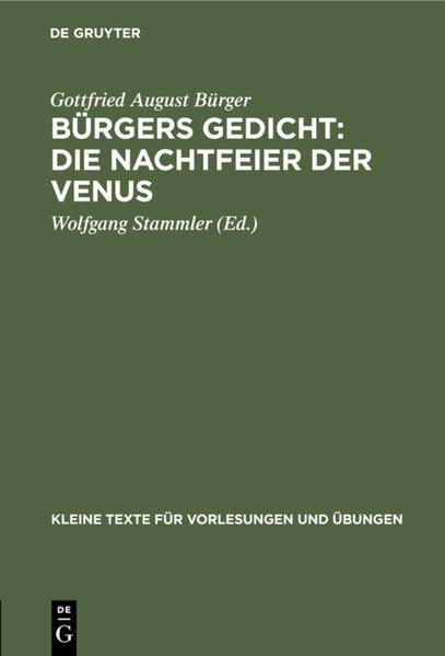 Bürgers Gedicht: Die Nachtfeier der Venus - Coverbild