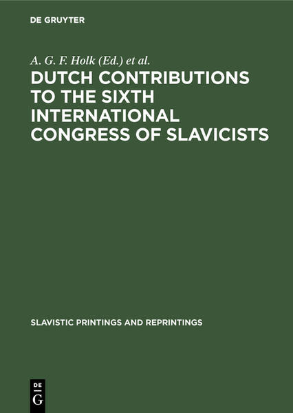 Dutch contributions to the Sixth International Congress of Slavicists - Coverbild
