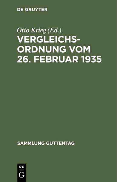 Vergleichsordnung vom 26. Februar 1935 - Coverbild
