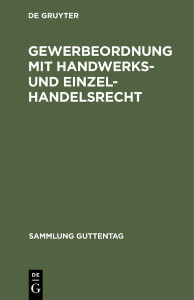 Gewerbeordnung mit Handwerks- und Einzelhandelsrecht - Coverbild