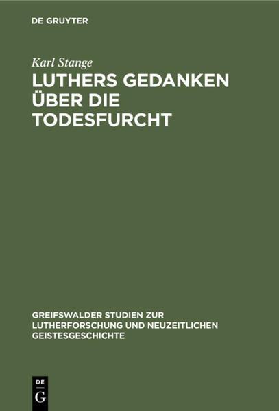 Luthers Gedanken über die Todesfurcht - Coverbild