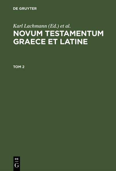 [Novum Testamentum] Novvm Testamentvm Graece et Latine - Coverbild