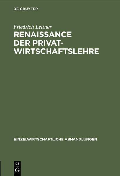Renaissance der Privatwirtschaftslehre - Coverbild