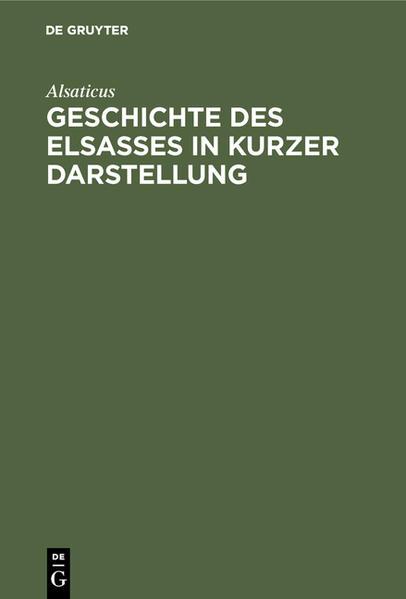Geschichte des Elsasses in kurzer Darstellung - Coverbild