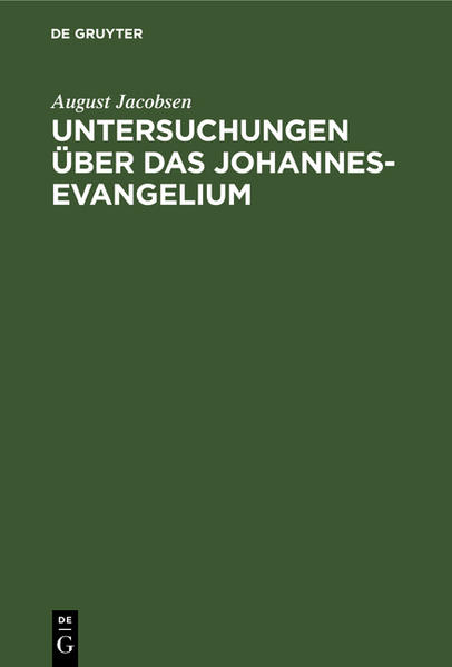 Untersuchungen über das Johannesevangelium - Coverbild