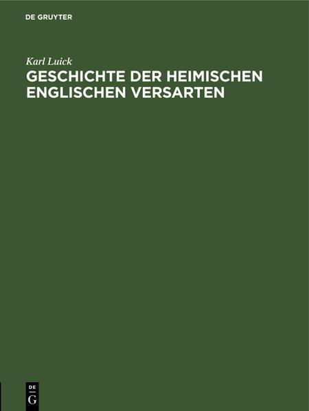 Geschichte der heimischen englischen Versarten - Coverbild