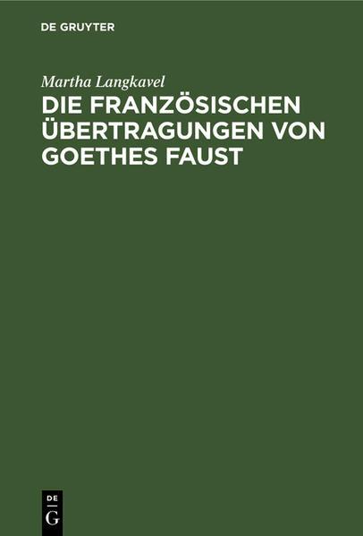 Die französischen Übertragungen von Goethes Faust - Coverbild