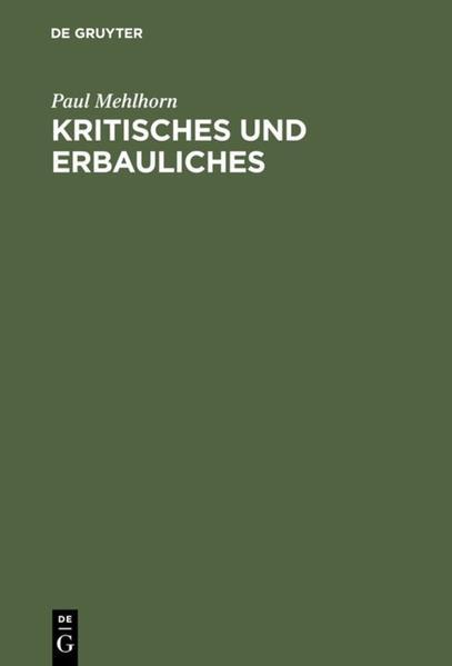 Kritisches und Erbauliches - Coverbild