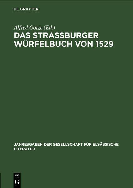 Das Straßburger Würfelbuch von 1529 - Coverbild