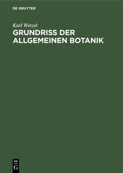 Grundriß der allgemeinen Botanik - Coverbild
