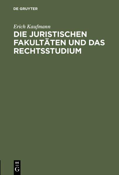 Die juristischen Fakultäten und das Rechtsstudium - Coverbild