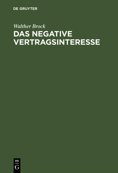 Das negative Vertragsinteresse - Coverbild
