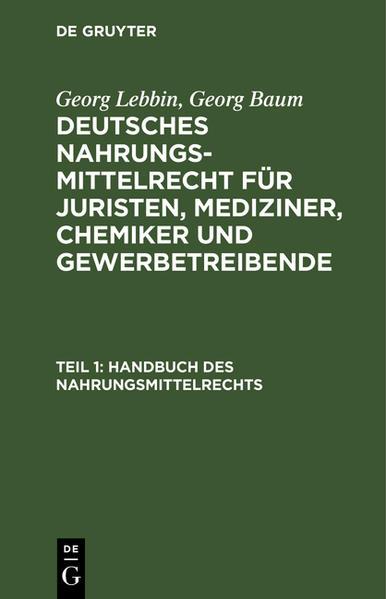 Handbuch des Nahrungsmittelrechts - Coverbild