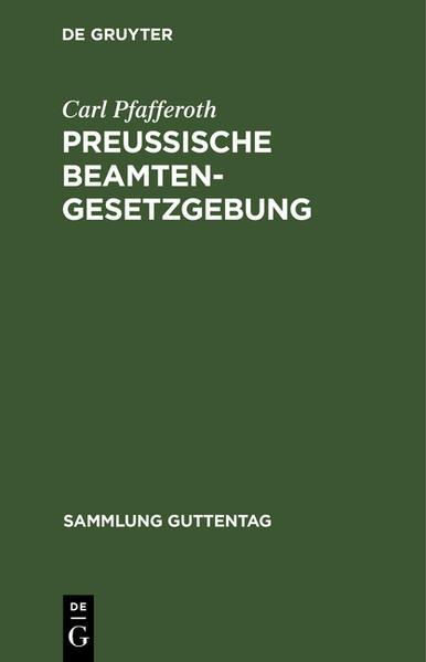 Preußische Beamten-Gesetzgebung - Coverbild