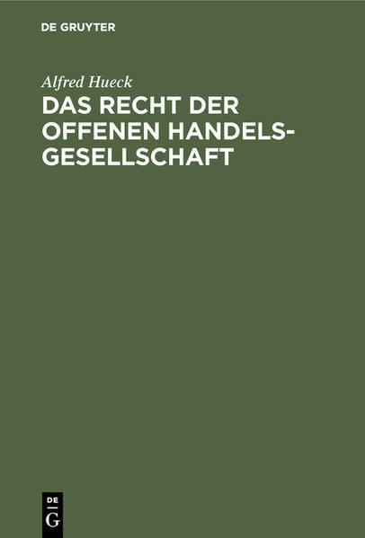 Das Recht der offenen Handelsgesellschaft - Coverbild