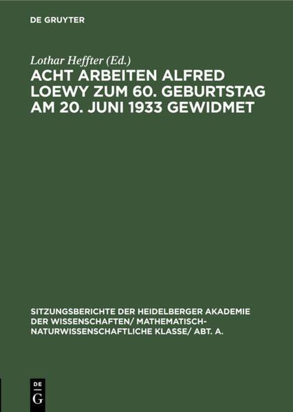 Acht Arbeiten Alfred Loewy zum 60. Geburtstag am 20. Juni 1933 gewidmet - Coverbild