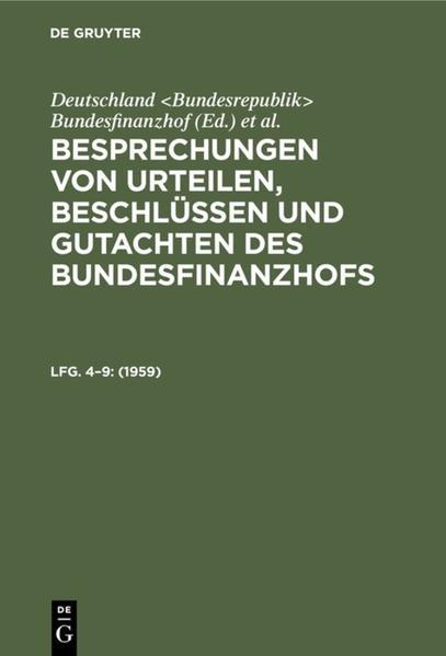 Besprechungen von Urteilen, Beschlüssen und Gutachten des Bundesfinanzhofs - Coverbild