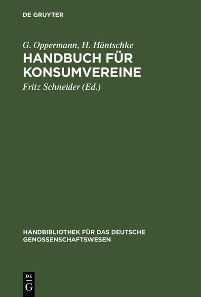 Handbuch für Konsumvereine - Coverbild